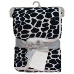 Living Textiles Velboa Animal Print Blanket Leopard Black