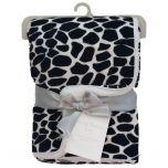 Living Textiles Velboa Animal Print Blanket Leopard Black