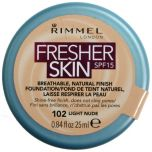 Rimmel 25mL Fresher Skin Foundation 102 Light Nude SPF 15 +