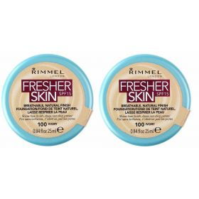 2 X Rimmel London Fresher Skin Foundation 100 Ivory 25 ml
