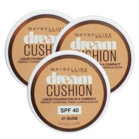 3 X Maybelline Dream Cushion Foundation 21 Nude SPF 40