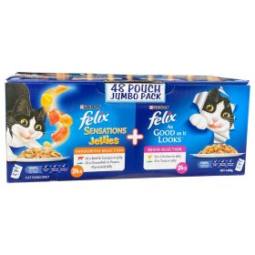 48 x 85g Felix Sensations Jellies Cat Food Pouches