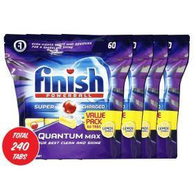 4 x 60pk Finish Quantum Max Power Gel Tabs Lemon Sparkle