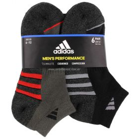 6 Pair Adidas Mens Climalite Low Cut Socks Shoe Size 6-12