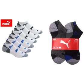 6 Pair PUMA Men's low Cut Sport Socks Shoe Size 6-12-White & Grey