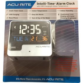 AcuRite Intelli-Time Alarm Clock with Indoor Temperature and USB Charger