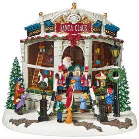 Animated Christmas Santa's Toy Shop Decoration