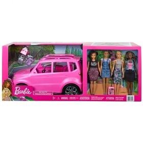 Barbie SUV Road Trip Set With 4 Barbie Dolls