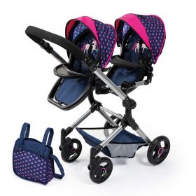 Bayer Twin Neo Pram Stroller For Dolls Blue Hearts and Unicorns