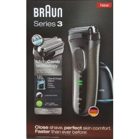 Braun Series 3 Men's Cordless Electric Shaver Cleaning Center Razor