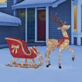 Christmas Glitter LED Deer and Sleigh With 200 LED Lights