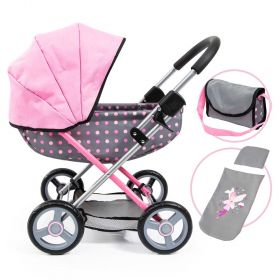Cosy Doll Pram Grey with Pink Spots and Pink Hood