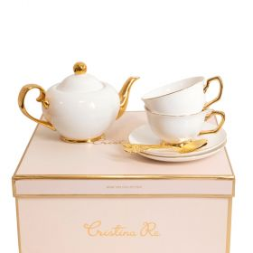 Cristina Re Signature Tea Set 2 Cup 24ct Gold Plated