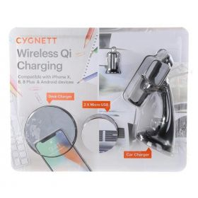 CYGNETT Wireless Qi Charging Desk & Car Wireless Charger (Combo Pack)
