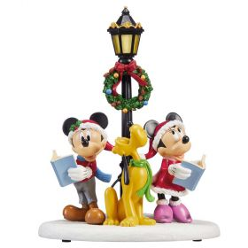 Disney Mickey, Minnie & Pluto Christmas Caroler Table Top Decoration with Lights & Sounds
