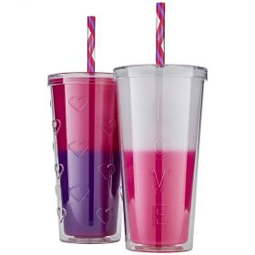 Double Wall Colour Changing Tumblers 2pk With Straw-Pink