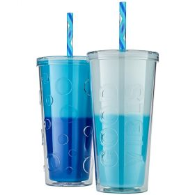 Double Wall Colour Changing Tumblers 2pk With Straw-Blue