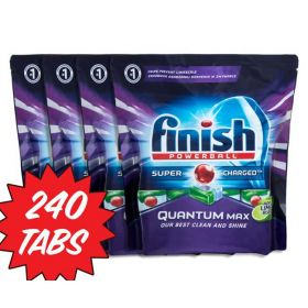 6 x 40Pk Finish Powerball Quantum Max Super Charged 240 Dishwashing Tabs Apple Lime