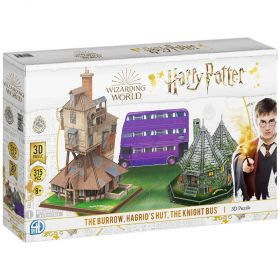 Harry Potter The Burrow, Hagrid's Hut, Knight Bus - 3D Puzzle Multi Pack