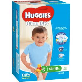 Huggies Ultra Dry Nappies Boy Walker 132 Disposable Size 13-18kg