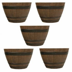 Southern Patio 13 Inch Woodford Barrel Planters - 5 pack