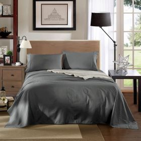 Kensington 1200TC Ultra Soft 100% Egyptian Cotton King Bed Sheet Set In Stripe Charcoal