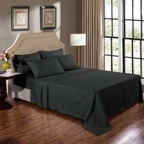 Kensington 1200TC Ultra Soft 100% Egyptian Cotton Sheet Set In Stripe Graphite Double