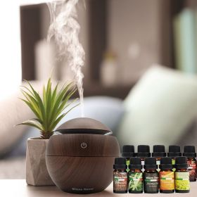 Milano Decor USB Aromatherapy Dark Wood Diffuser with 10 Pack of Aroma Oils