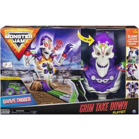 Monster Jam Grim Take Down Playset with Lights and Sound