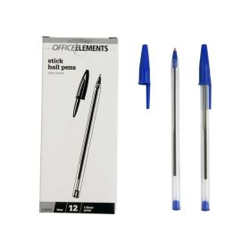 Office Elements Ballpoint Pen Medium 1.0mm Clear Barrel Box Of 12