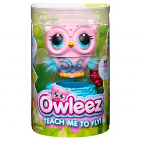 Owleez Flying Baby Owl Interactive Toy with Lights and Sounds (Pink)