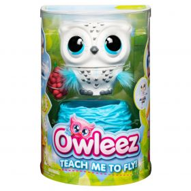 Owleez Flying Baby Owl Interactive Toy with Lights and Sounds (White)