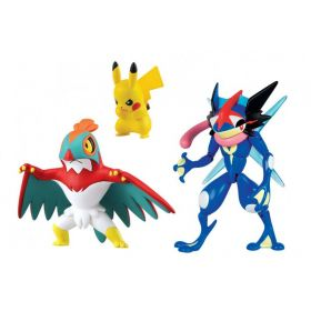 Pokemon Action Pose Ash-greninja, Hawlucha and Pikachu figures
