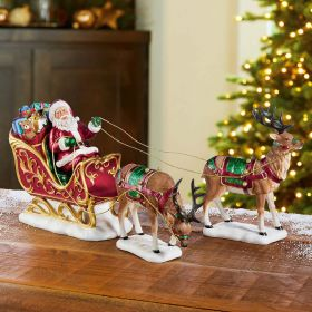 Santa Sleigh And Reindeer Tabletop Christmas Decoration