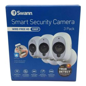 Swann Smart Security Wire-Free 1080p Camera 3-Pack With 2 Outdoor Mounting Stands