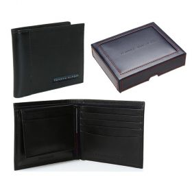Tommy Hilfiger Leather Cambridge Passcase Wallet Black