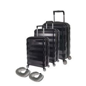 Tosca Kryptonite 3 Piece Hardcase Luggage Set - Black + 2 BONUS Neck Pillows