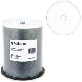 Verbatim CD-R 100 Disc Spindle Wide Inkjet Printable CDR